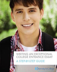 This is the cover of the Writing an Exceptional College Entrance Essay ebook. It shows a teen boy smiling and holding his school books.